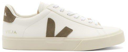 Campo Leather Trainers - Khaki White