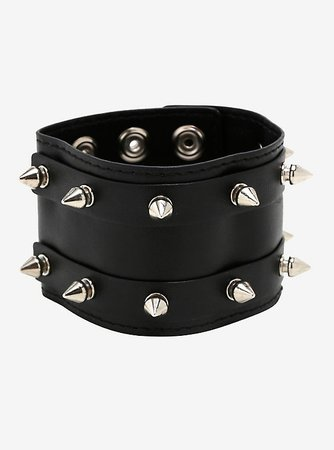 Double Row Spike Stud Faux Leather Cuff Bracelet