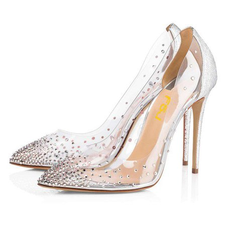 Silver Rhinestone Clear Pumps Stiletto Heels Wedding Shoes for Work, Date | FSJ