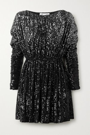 Degrade Sequined Stretch-knit Mini Dress - Black