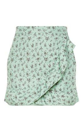 PrettyLittleThing Green Floral Frill Hem Wrap Mini Skirt