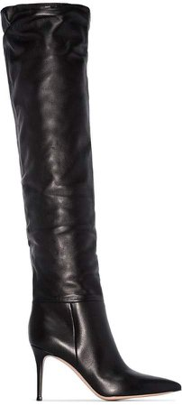 crinkle-effect 85mm heeled boots