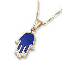 14K Yellow Gold and Blue Enamel Hamsa Pendant with Diamond Fingers and Evil Eye, Jewish Jewelry | Judaica WebStore