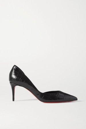Iriza 70 Croc-effect Leather Pumps - Black