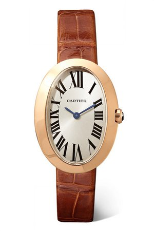 Cartier | Baignoire 24.5mm small 18-karat pink gold and alligator watch | NET-A-PORTER.COM