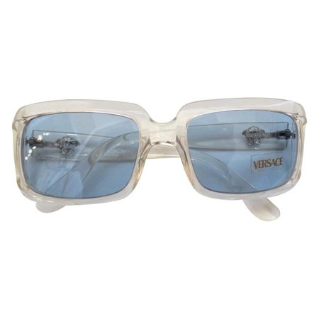 1990s Versace Clear Rectangular Frame Sunglasses For Sale at 1stdibs