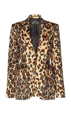 Leopard Print Cotton-Blend Blazer by MUGLER | Moda Operandi