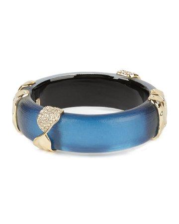 Alexis Bittar Pave Twist Sectioned Hinge Bracelet, Blue   Neiman Marcus