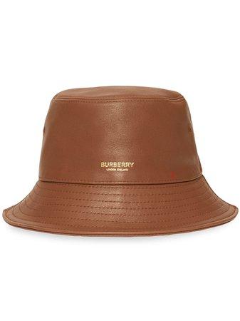 Burberry Logo Detail Leather Bucket Hat Ss20 | Farfetch.com