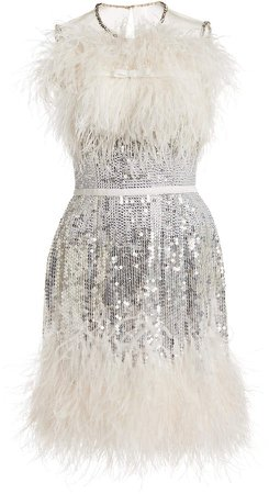 Jenny Packham Feather-Embellished Sequined Dress