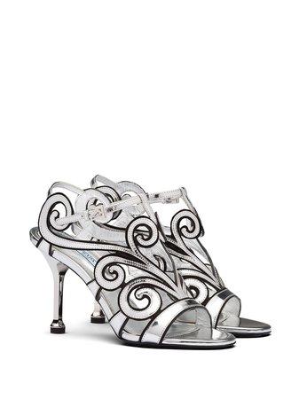 Prada Baroque-Style Ankle Strap Sandals 1X188MFB0903L98 Silver | Farfetch