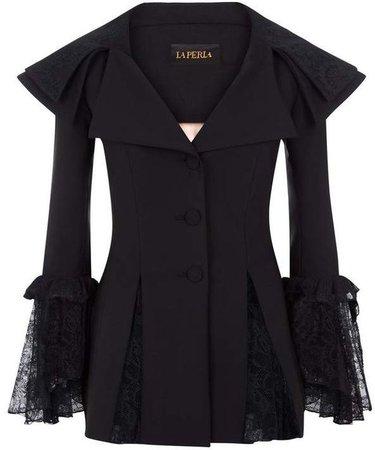 La Perla Cocktail Looks Black Wool Stretch Jacket With Leavers Lace Ruffles
