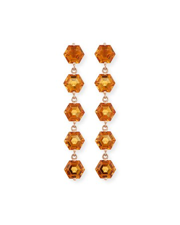 KALAN by Suzanne Kalan Bloom 14k Rose Gold 5 Hexagon Drop Earrings, Light Orange | Neiman Marcus