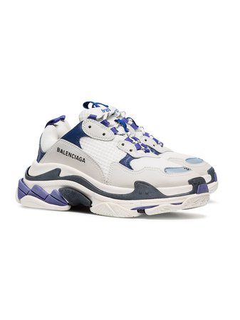 Balenciaga White And Blue Triple S Leather Sneakers - Farfetch