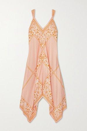 Asymmetric Draped Printed Silk Dress - Orange