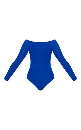 Basic Cobalt Bardot Bodysuit | Bras | PrettyLittleThing