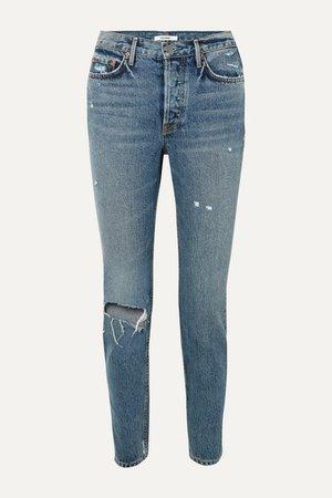 Karolina Distressed High-rise Slim-leg Jeans - Mid denim