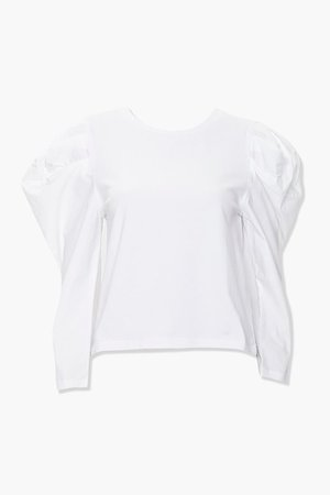Cotton-Blend Puff-Sleeve Top | Forever 21