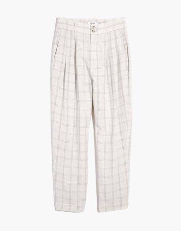 Pleated Taper Wide-Leg Pants in Windowpane grey