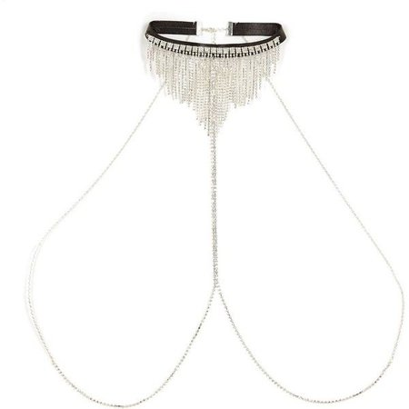 River Island Silver Tone Drape Choker Harness Body Chain