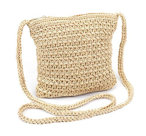 Boho Crochet Crossbody Handbag, Organizer Sling Bag, Small Crocheted Hippie Purse (Beige): Handbags: Amazon.com
