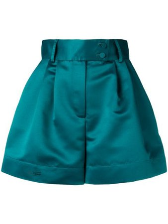 Shop green Styland flared high-waisted shorts with Express Delivery - Farfetch