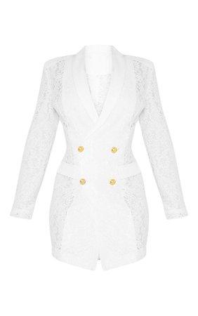WHITE LACE GOLD BUTTON BLAZER DRESS