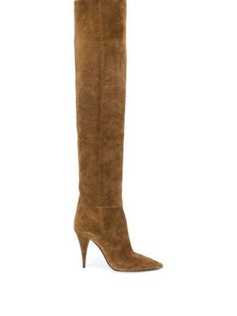 Saint Laurent Kiki 100Mm Over-The-Knee Boots 5801690LI00 Brown | Farfetch