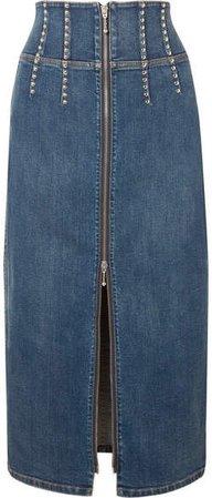 The Trilby Studded Denim Midi Skirt - Mid denim