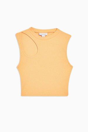 Orange Asymmetric Cut Out Top | Topshop