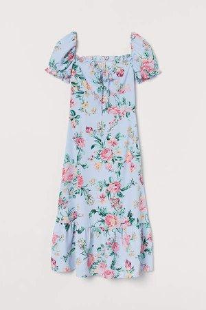 Puff-sleeved Dress - Blue