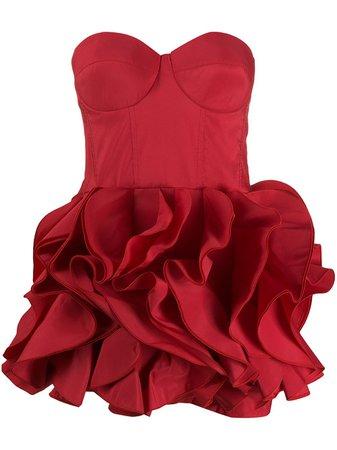Red Elisabetta Franchi strapless ruffle mini dress AB11008E2 - Farfetch