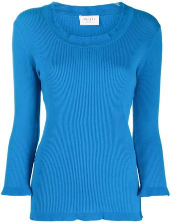 Scoop Neck Ribbed Sweatshirt