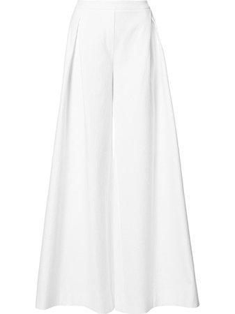 Carolina Herrera, White Pleated Detail Palazzo Pants