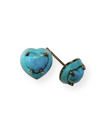 NAKARD Mini Enameled Turquoise Heart Stud Earrings