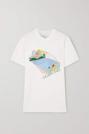 Casablanca - Printed Cotton-jersey T-shirt - White