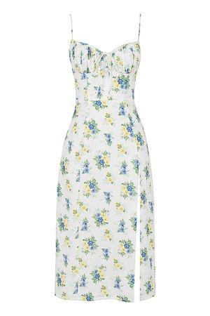 Clothing : Midi Dresses : 'Carina' White Floral Bustier Midi Dress