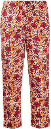 floral-print straight trousers