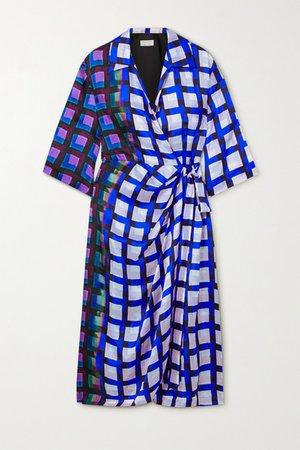 Printed Satin Midi Wrap Dress - Blue