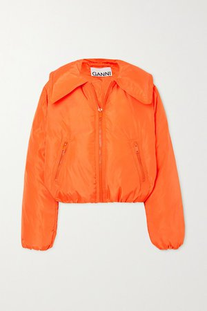 Cropped Quilted Shell Down Jacket - Orange