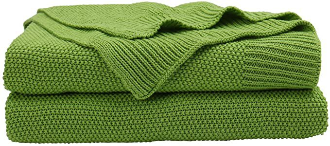 "Amazon.com: PICCOCASA 100% Cotton Knit Throw Blanket,Solid Lightweight Decorative Sofa Throws,Soft Grass Green Knitted Throw Blanket for Sofa Couch,50"" x 60"": Kitchen & Dining"