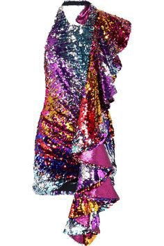 Halpern - Ruffled Sequined Tulle Halterneck Mini Dress