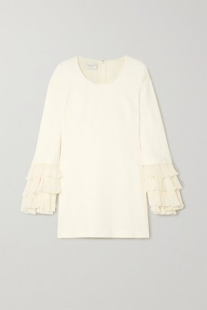 Ruffled Plisse-silk And Cady Mini Dress - Ivory