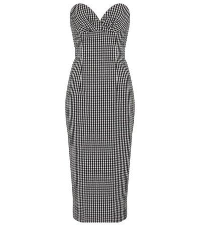 Balmain - Gingham seersucker bustier midi dress | Mytheresa