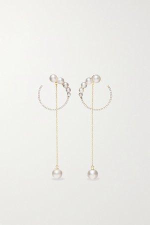 Gold 14-karat gold, pearl and diamond earrings | Mateo | NET-A-PORTER