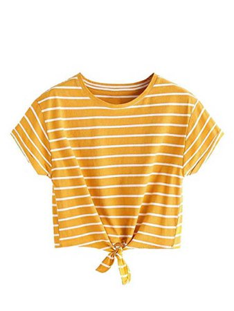 yellow white striped shirt cropped tied