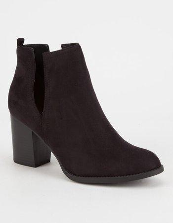 SODA Faux Suede Side Slit Womens Booties - BLACK - 294729100 | Tillys