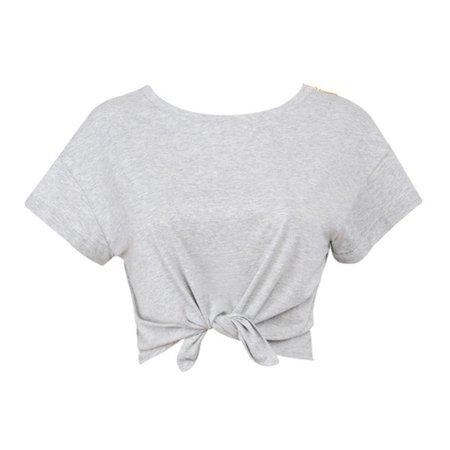 Mistress Rocks Tops | All Tied Up Grey Marl Cropped T Shirt | Poshmark