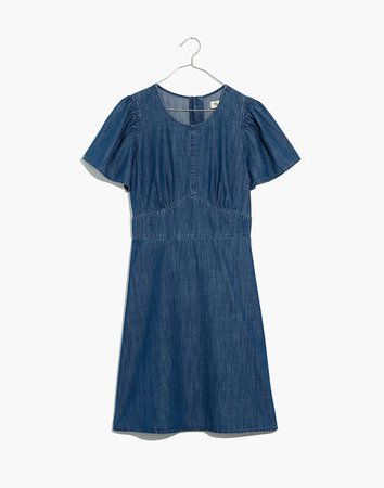 Denim Fit-and-Flare Dress blue