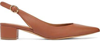 Leather Slingback Pumps - Light brown